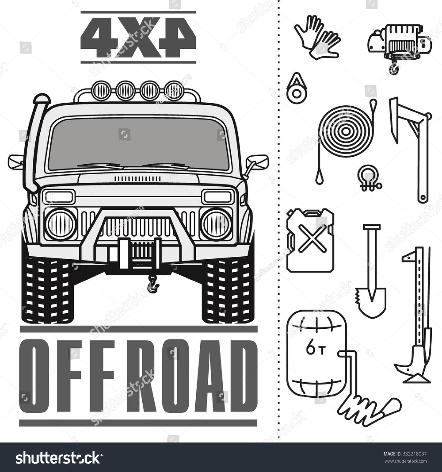 Off Road 4x4 Car Truck Equipment Stock Vector 332218037 - Shutterstock