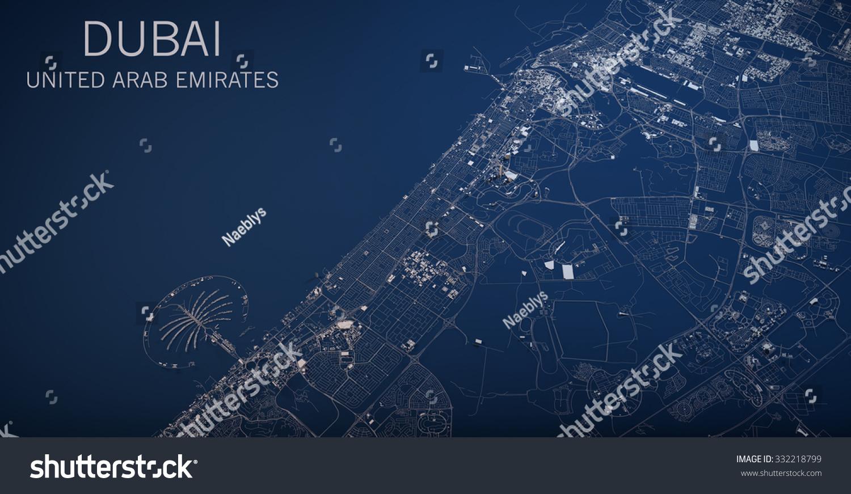 Dubai map satellite view section 3 d ilustracin de stock332218799 dubai map satellite view section 3d united arab emirates gumiabroncs Images