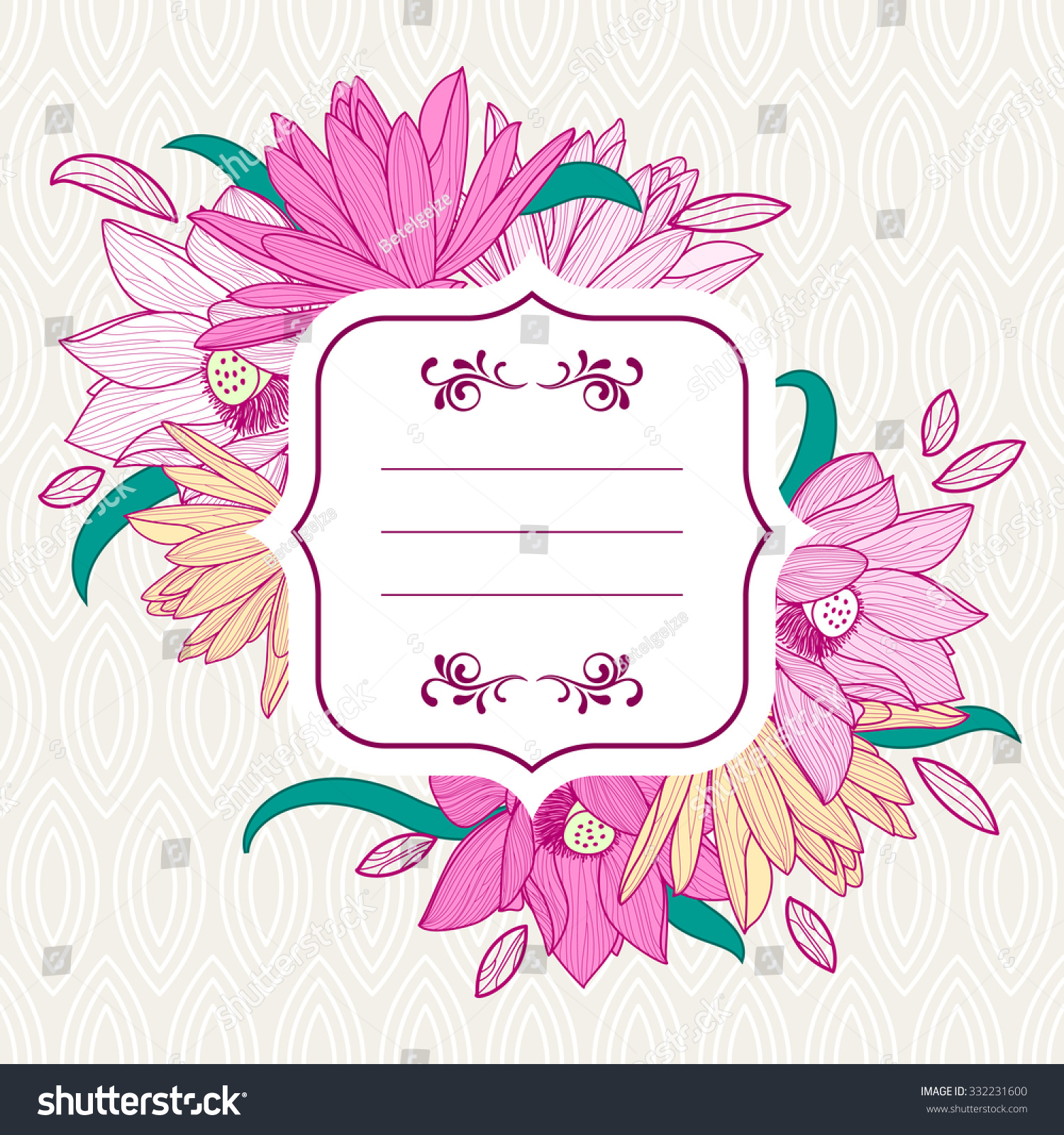Vector round frame with pink flowers on white background in pastel - Square White Frame With Pink Lotus And Lily Flowers Vector Floral Background And Seamless Leaf