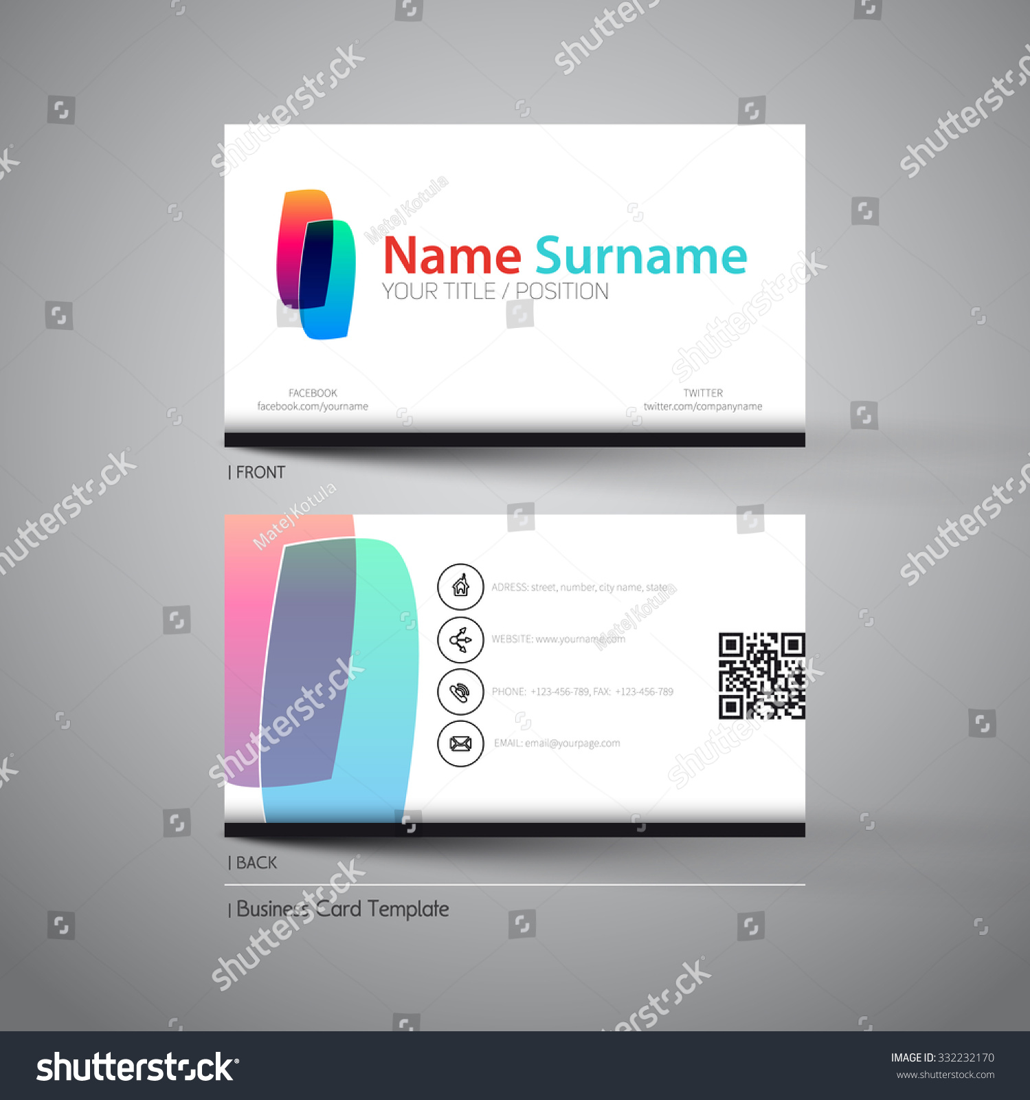 Modern Simple Business Card Template Logo Stock Vector 332232170 ...