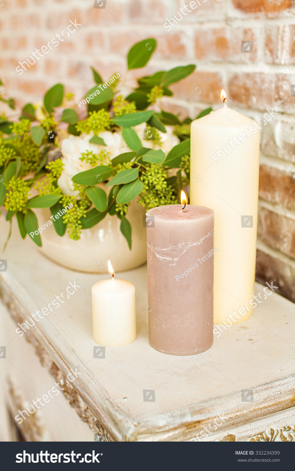 Candles Flowers On Fireplace Decor On Stock Photo (Royalty Free ...