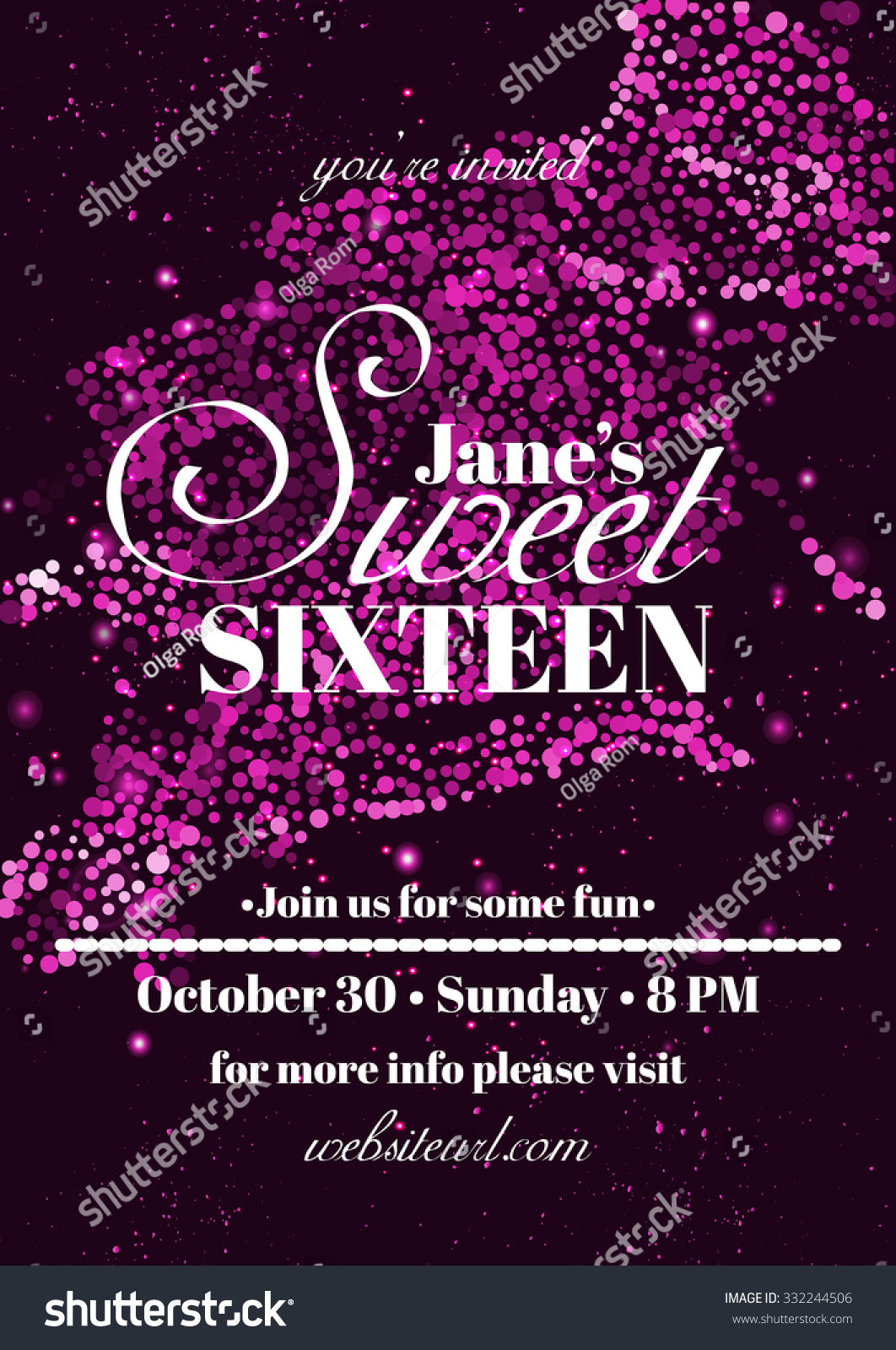sweet sixteen glitter party invitation flyer stock vector 332244506 shutterstock. Black Bedroom Furniture Sets. Home Design Ideas