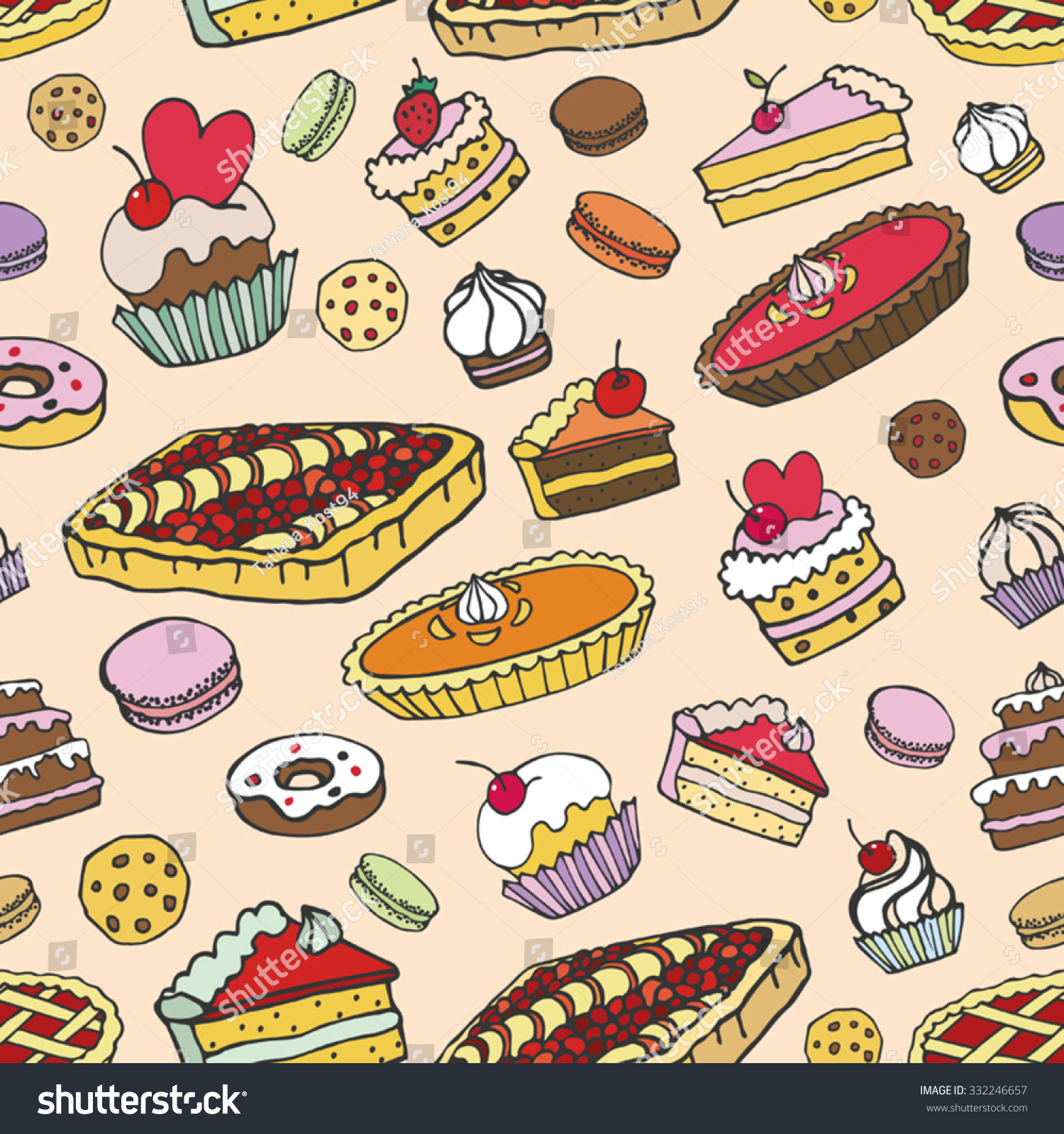 Bakery Backdrop Bakery Themed Seamless Background 1 Stock Vector - Bakery cakes pie dessert pastries seamless pattern doodle vector colored vintage