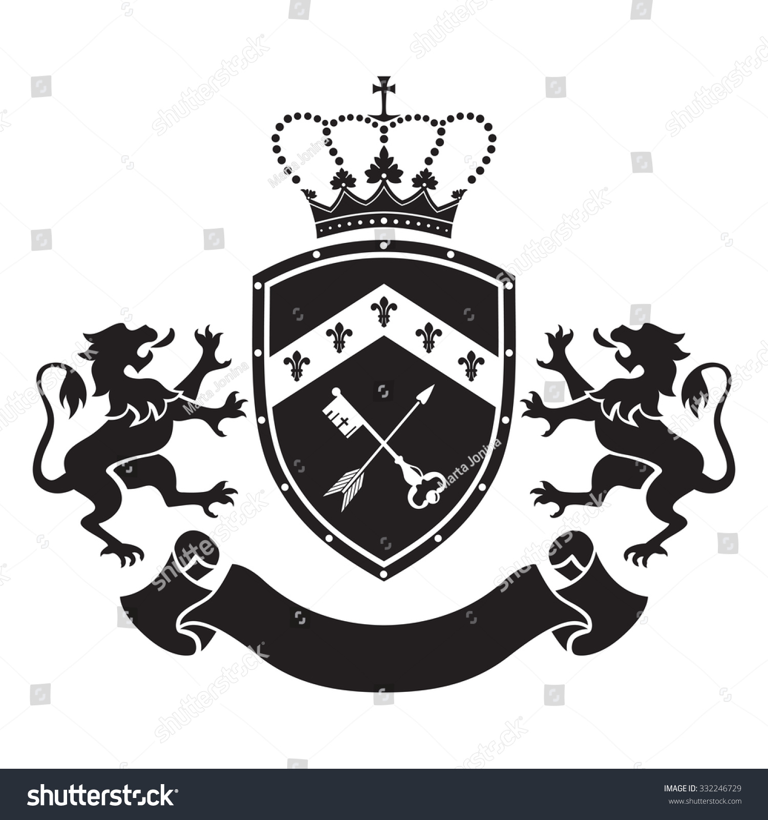Coat Arms Shield Crown Key Arrow Stock Vector 332246729 ...