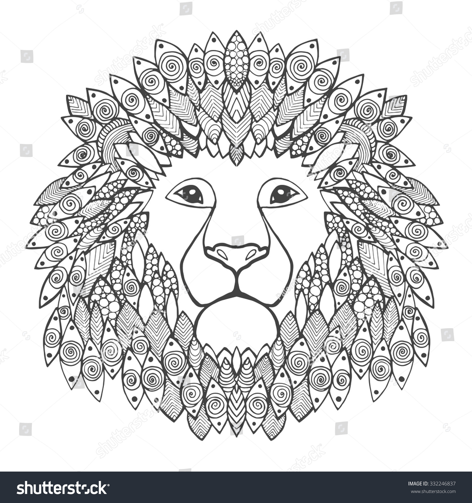 Coloring book for adults lion - Lion Head Adult Antistress Coloring Page Black White Hand Drawn Doodle Animal Ethnic