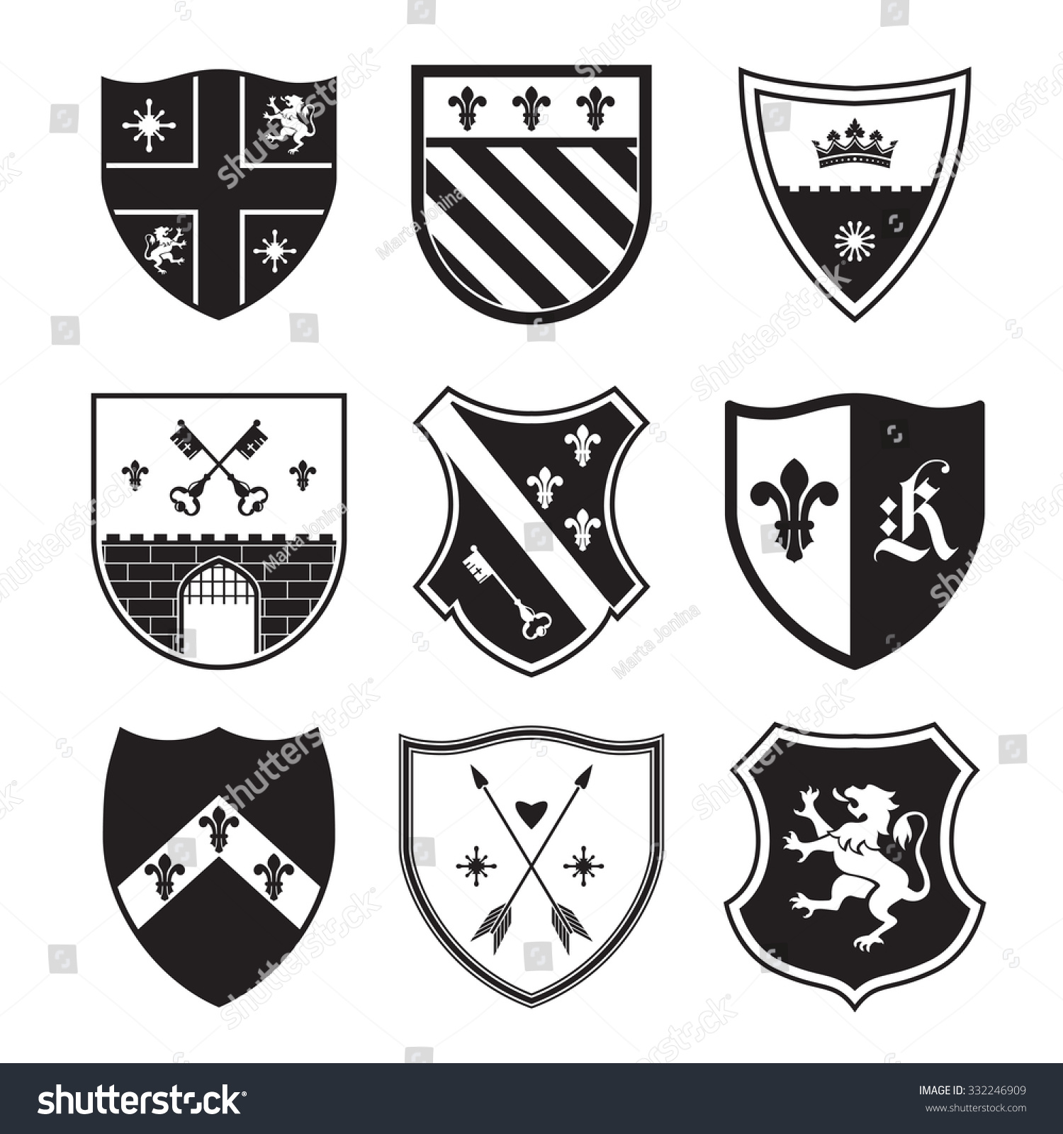 shield silhouettes signs symbols safety security stock