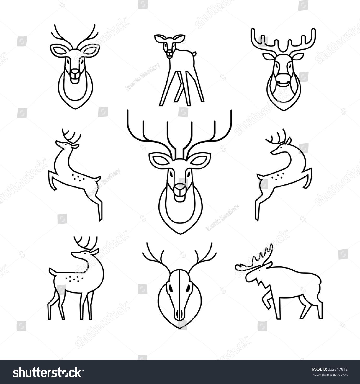 jumping standing deers moose antlers horns stock vector royalty