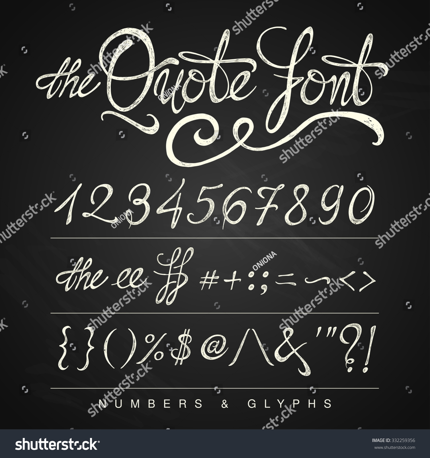 Handwritten calligraphy quote font numbers white stock