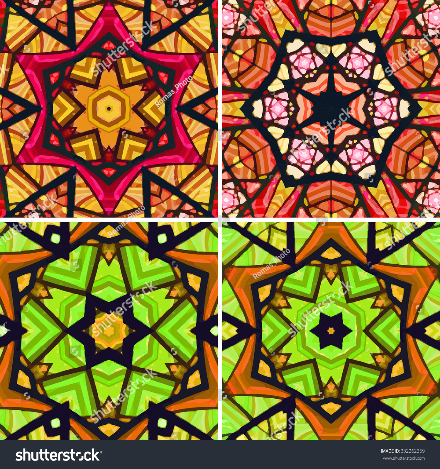 Set Of Stained Glass Patterns. Four Seamless Symmetrical