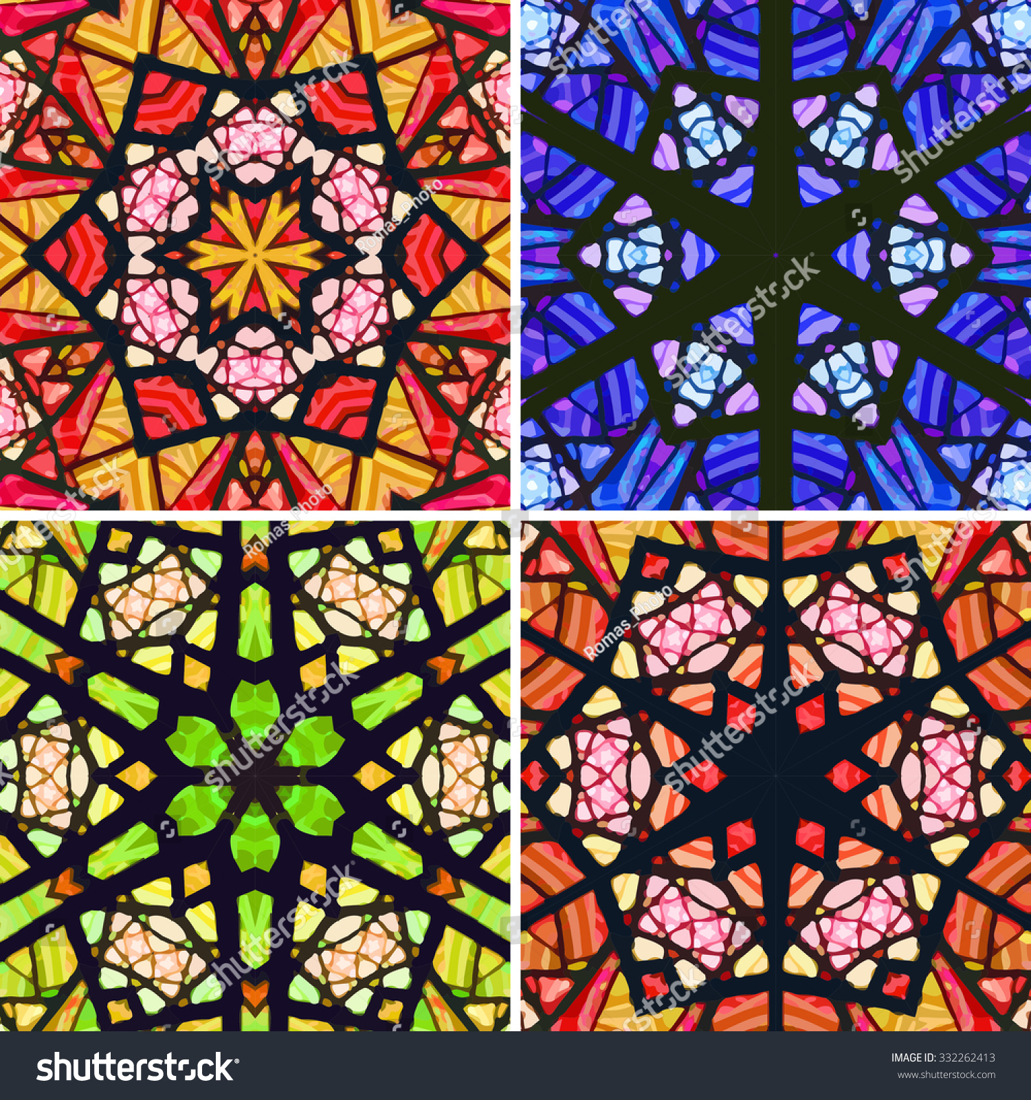 Set Stained Glass Patterns Four Seamless Stock Vector