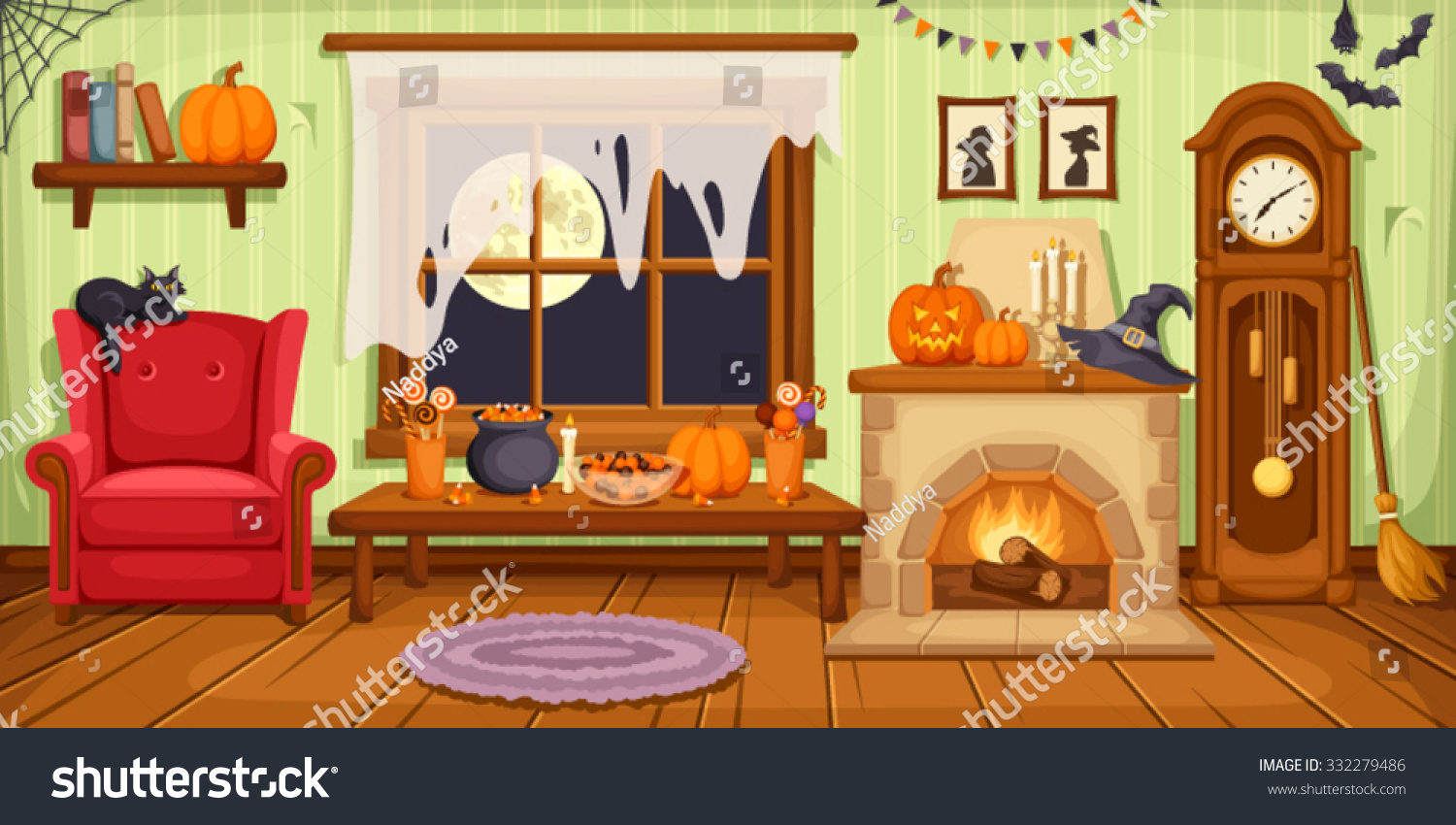 Vector Illustration Of Living Room With Armchair Table Clock And Fireplace Decorated For Halloween