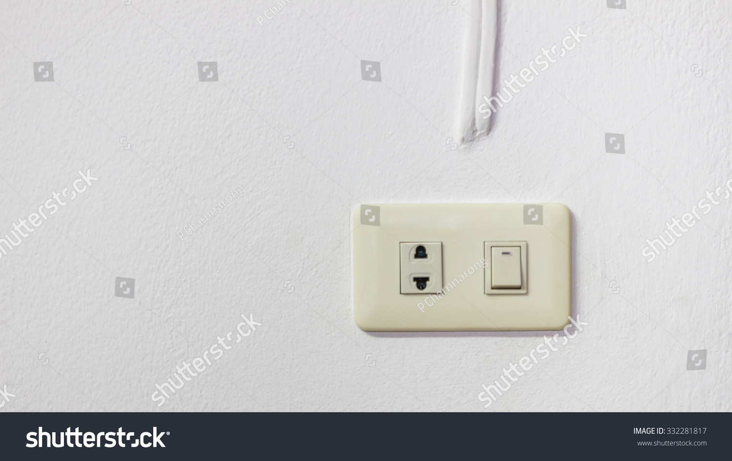 electric plug and switch on wall on brown wall background | EZ Canvas