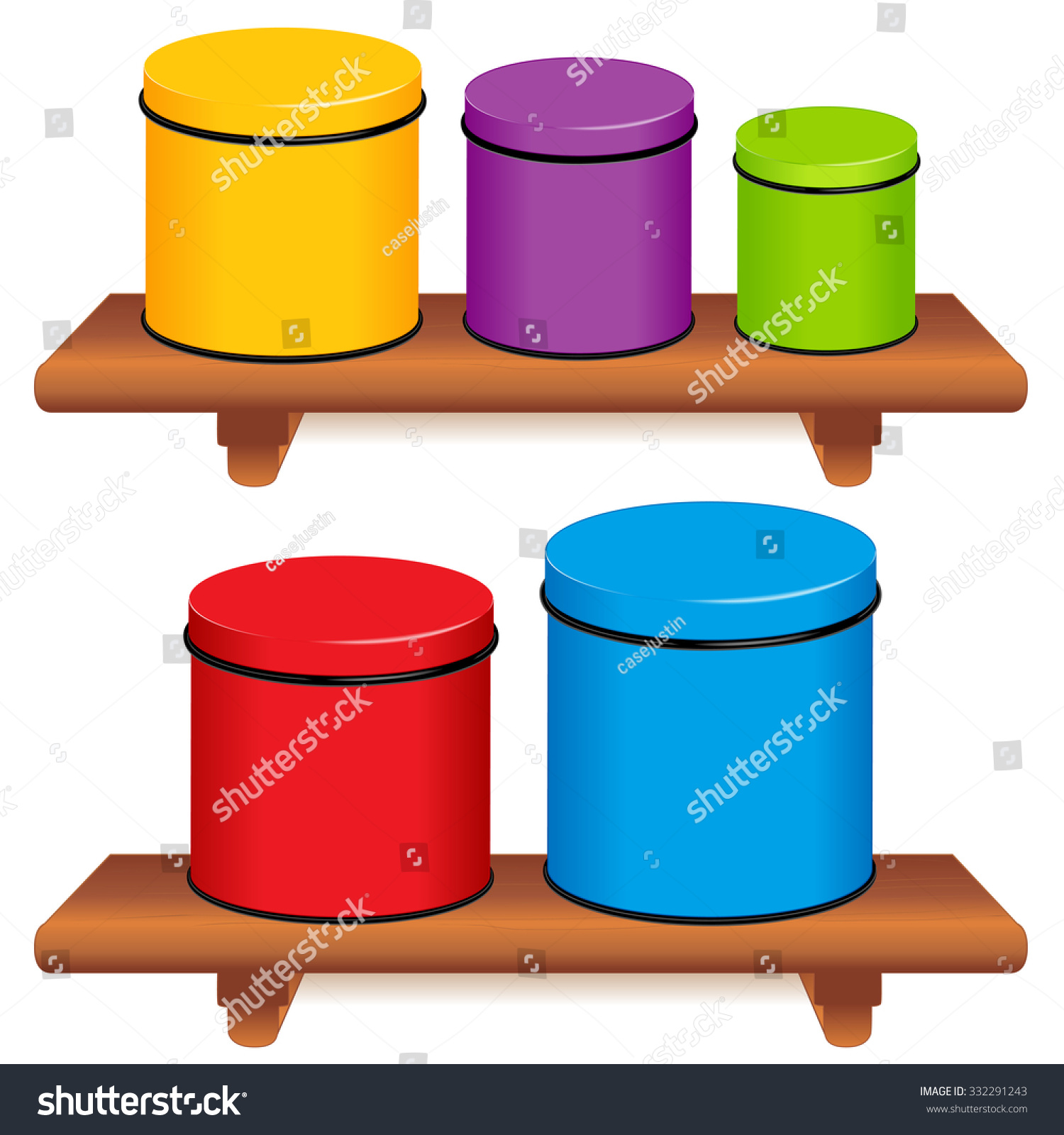 kitchen canister set five multi color stock vector