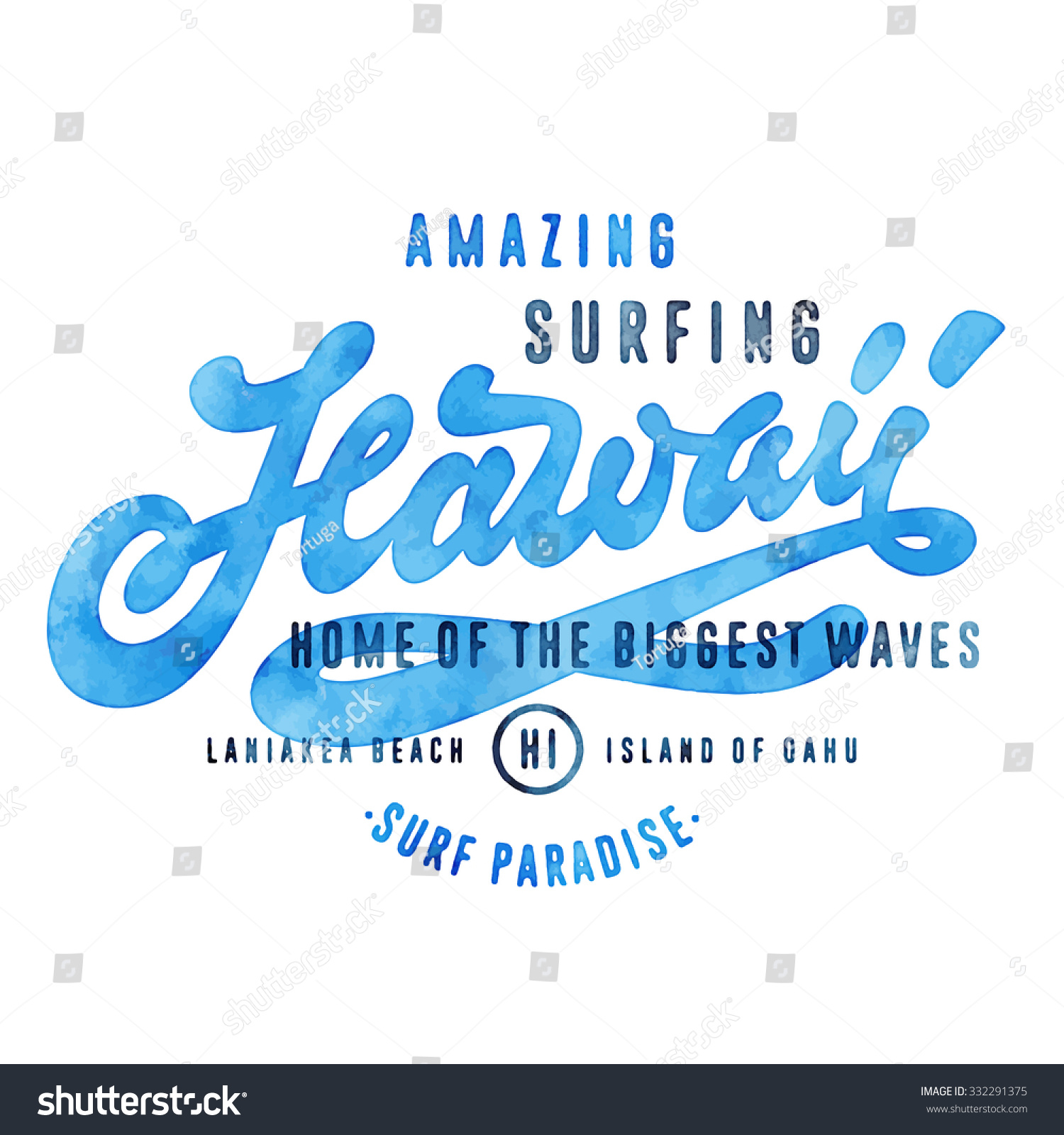 T shirt design hawaii - Amazing Surfing Hawaii Home Of The Biggest Waves Vintage Watercolor Hand Lettered T Shirt
