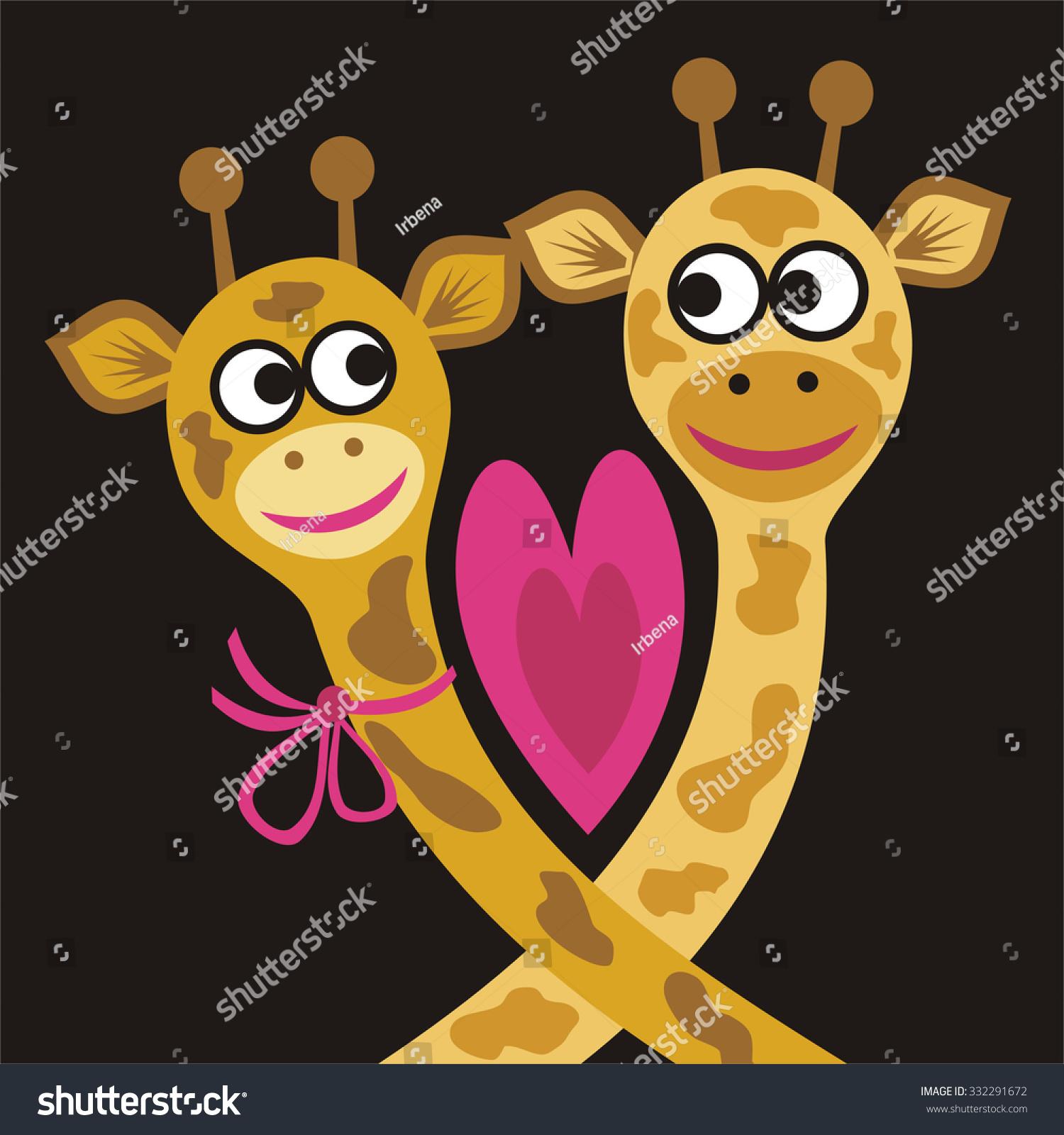 valentines day card giraffes heart vector stock vector 332291672