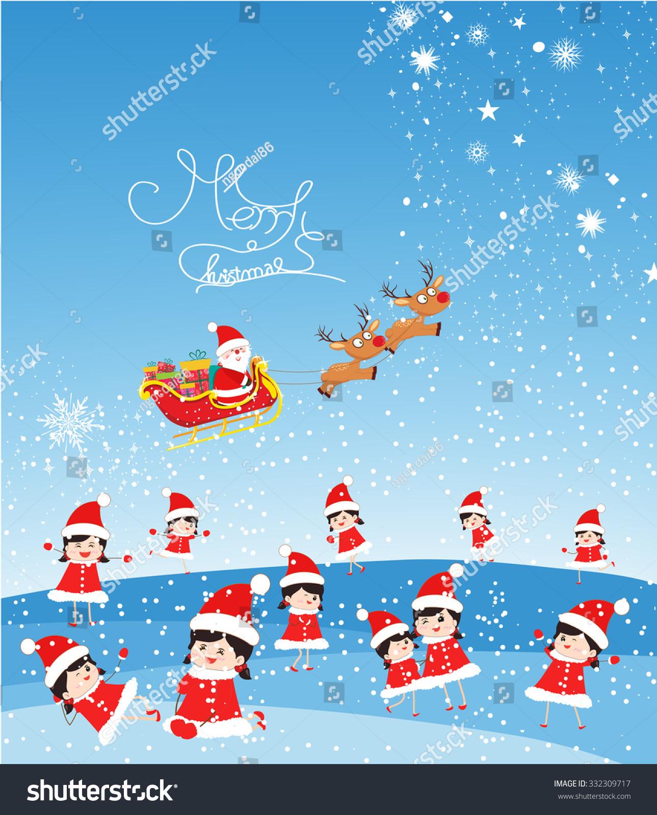 Merry Christmas Funny Kids Santa Claus Stock Vector (Royalty Free ...