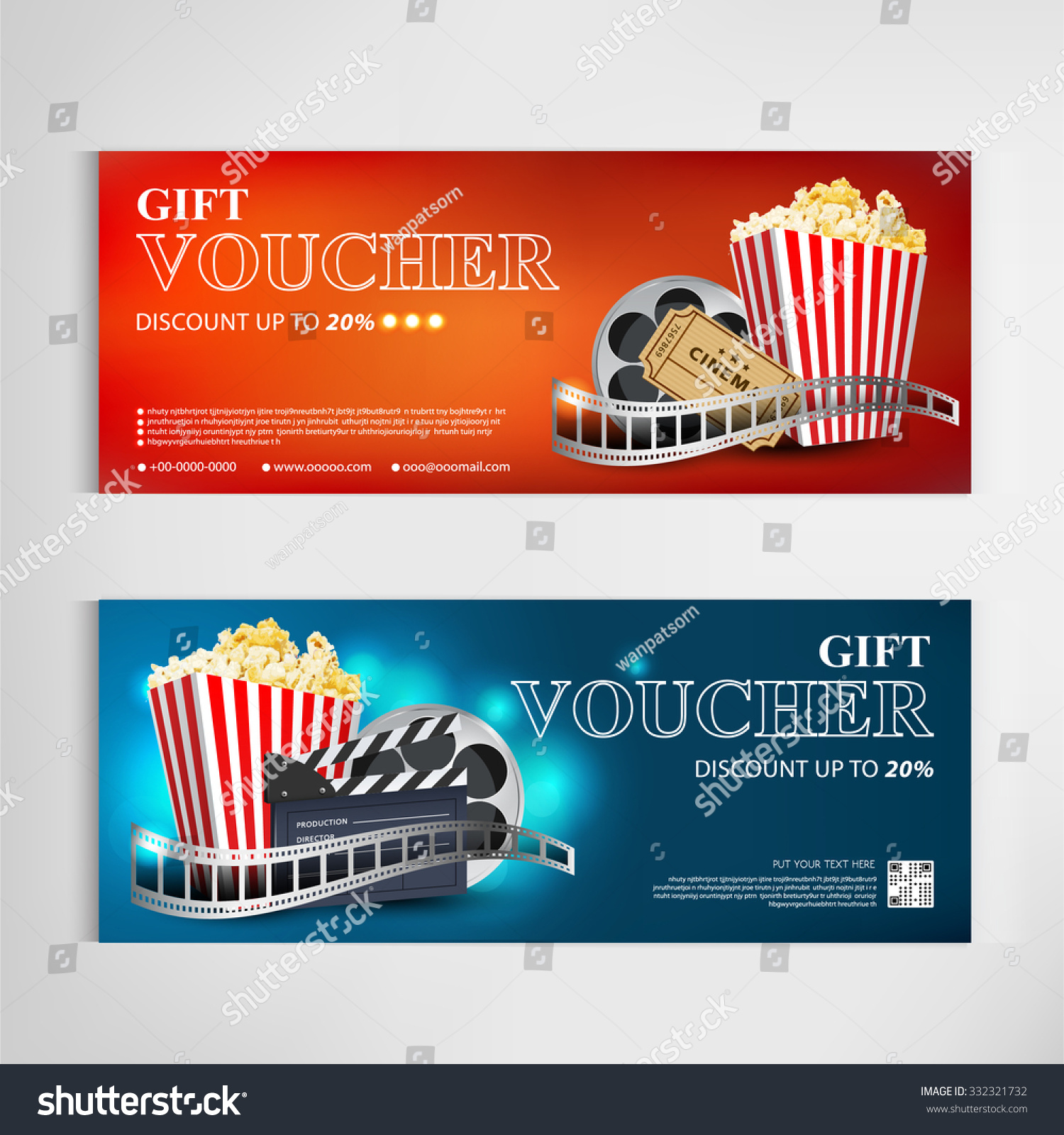 Royalty Free Gift Voucher Movie Template Modern 332321732 Stock