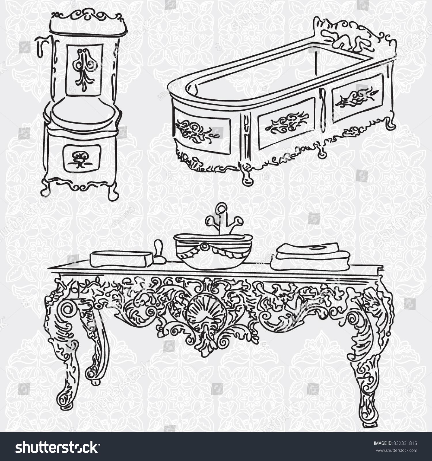 Set antique decorative furniture bathroom baroque stock for Baroque style bathroom