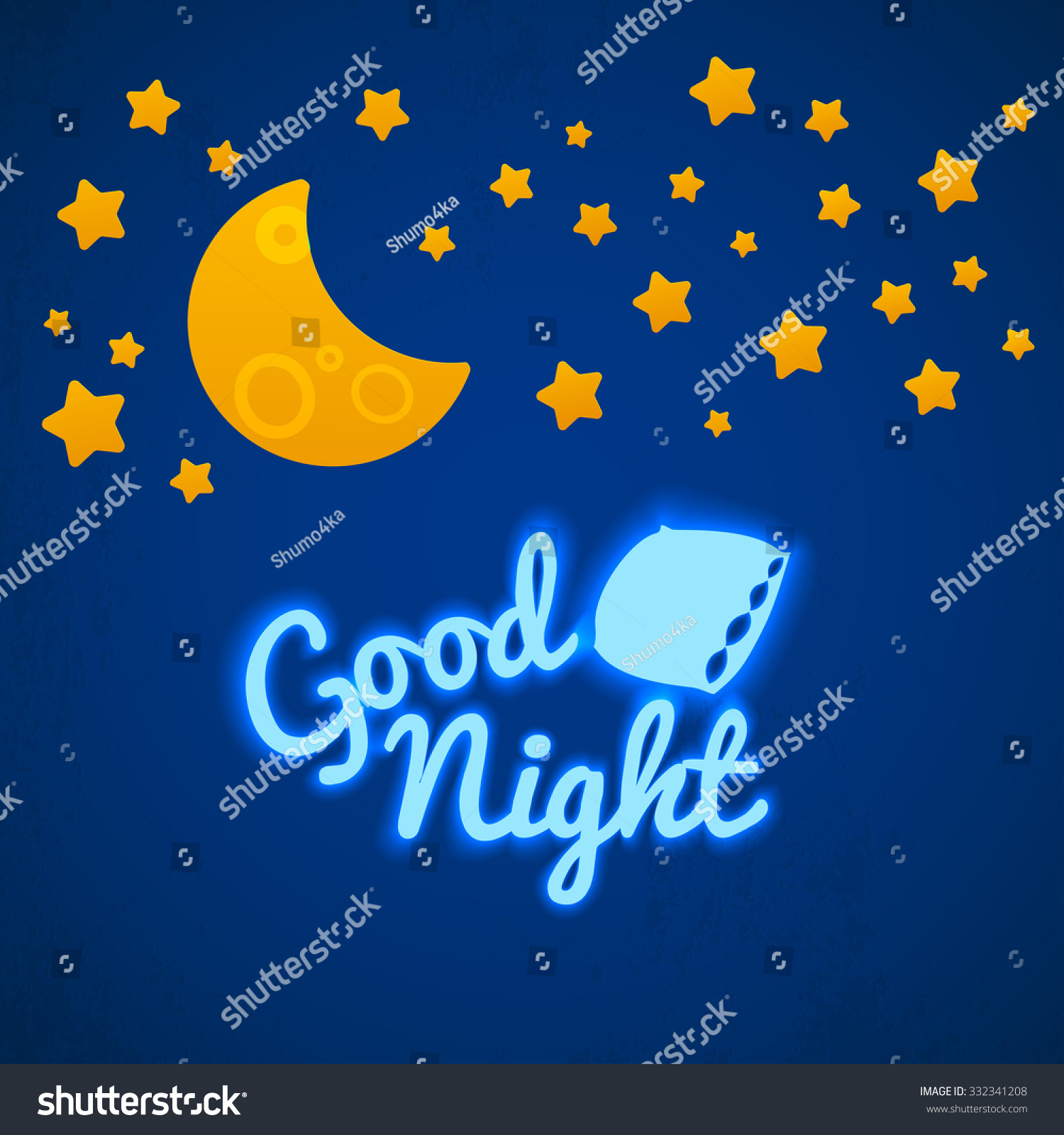 Good Night Bed Time Illustration Children Stock Vector