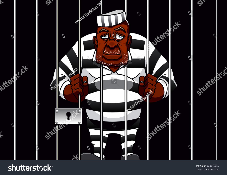 Sad African American Cartoon Prisoner In Striped Uniform