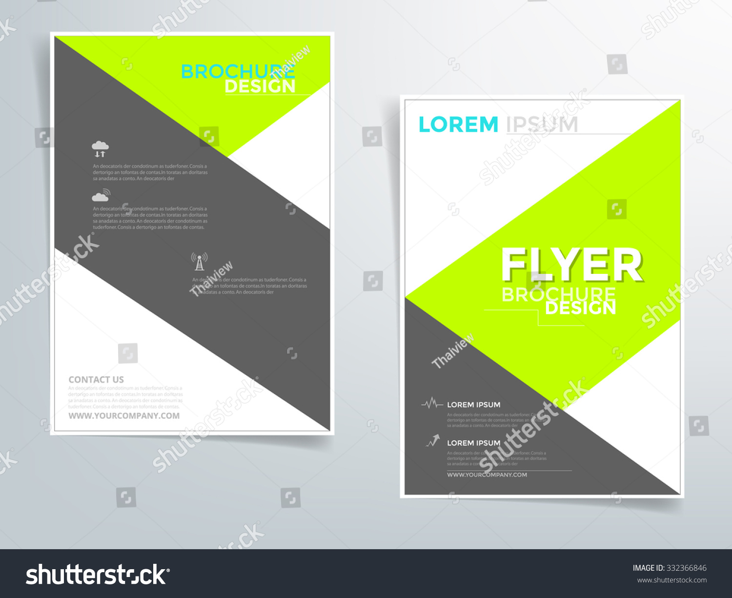 Green And Black Brochure Template Flyer Design Vector With Sample