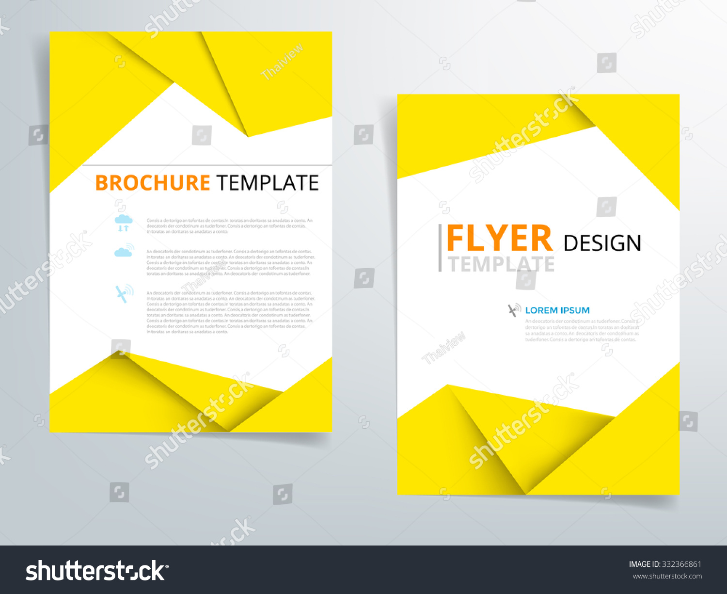 stock vector yellow brochure template flyer design vector origami paper layer overlap with sample text for a 332366861 Top Result 60 Inspirational Paper Ad Design Templates