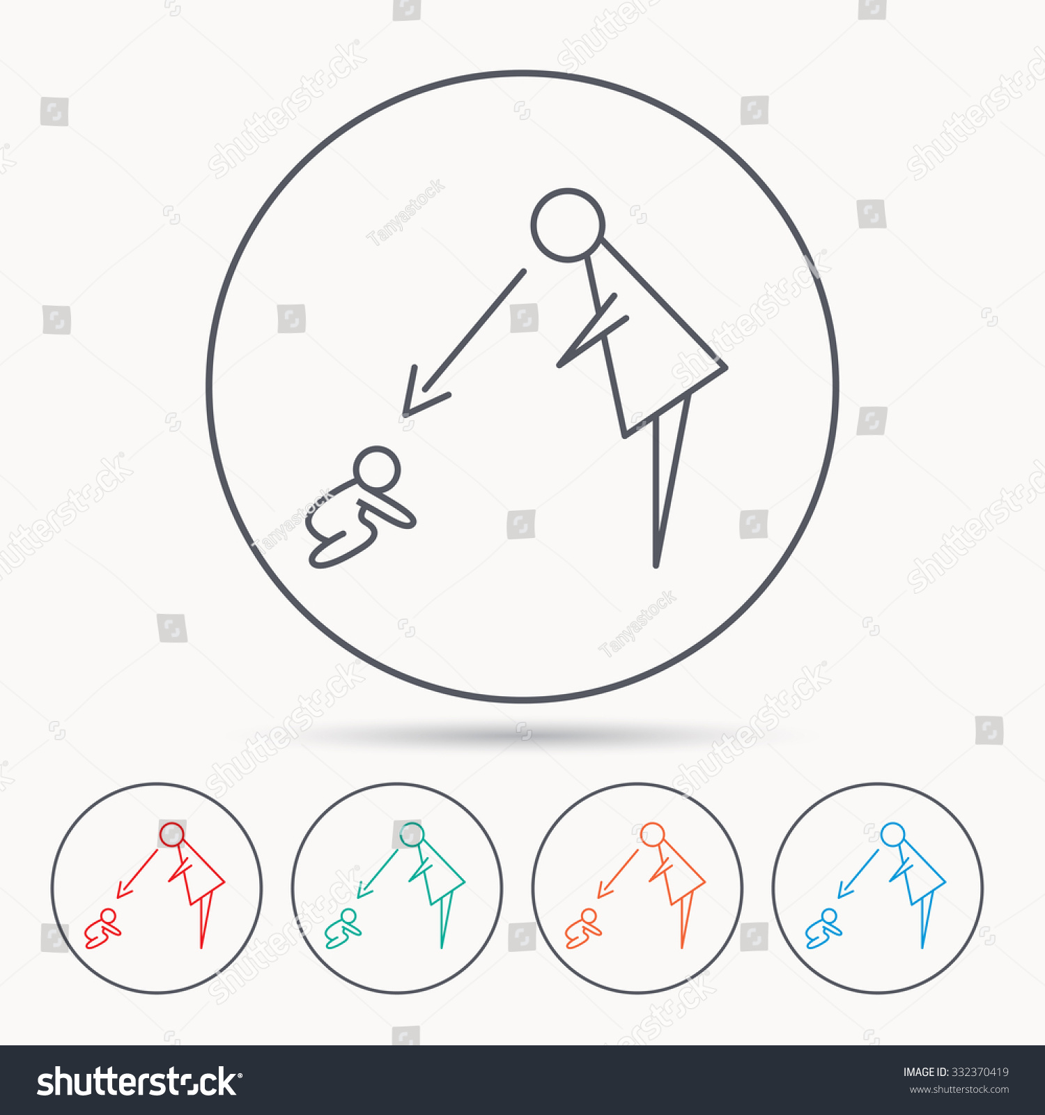 under nanny supervision icon babysitting care sign mother save to a lightbox