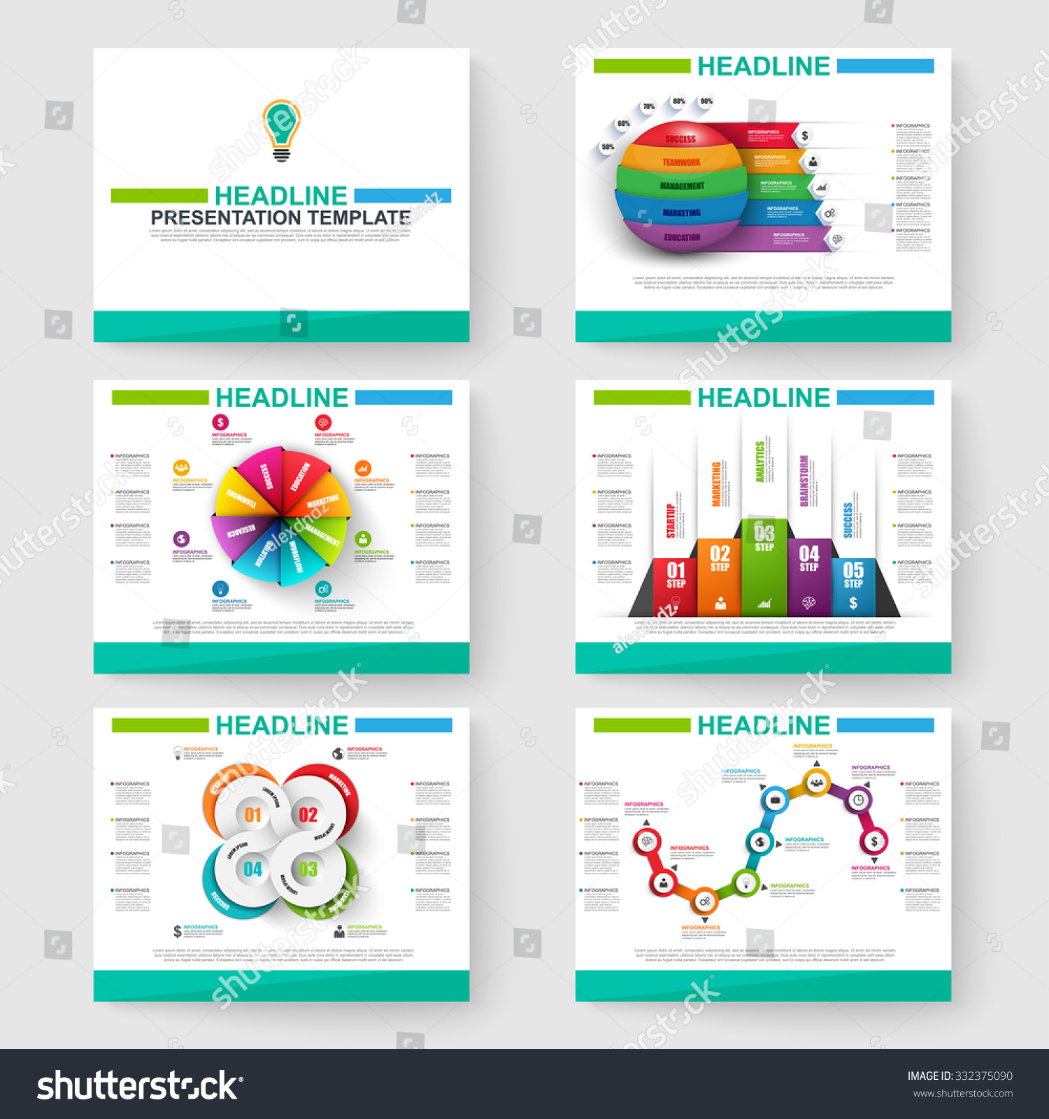 set multipurpose presentation infographic templates powerpoint stock