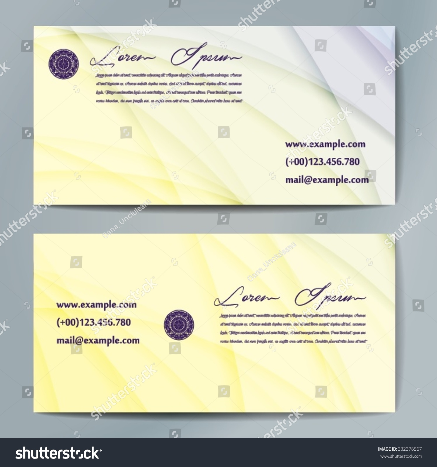 Stylish Business Cards Colorful Wavy Stripes Stock Vector (2018 ...