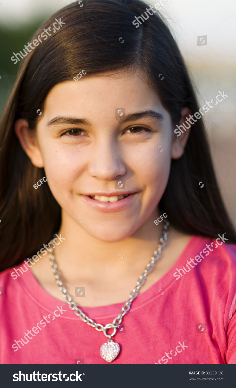 Portrait Of A Pretty Young Girl Stock Photo 33239128