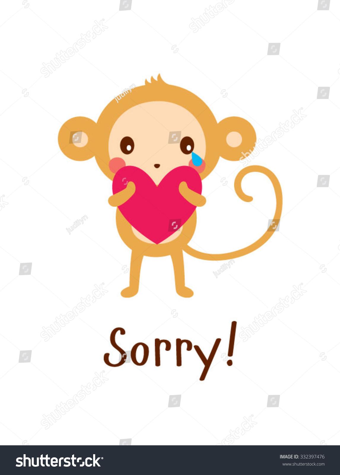 cute monkey sorry card stock vector (royalty free) 332397476