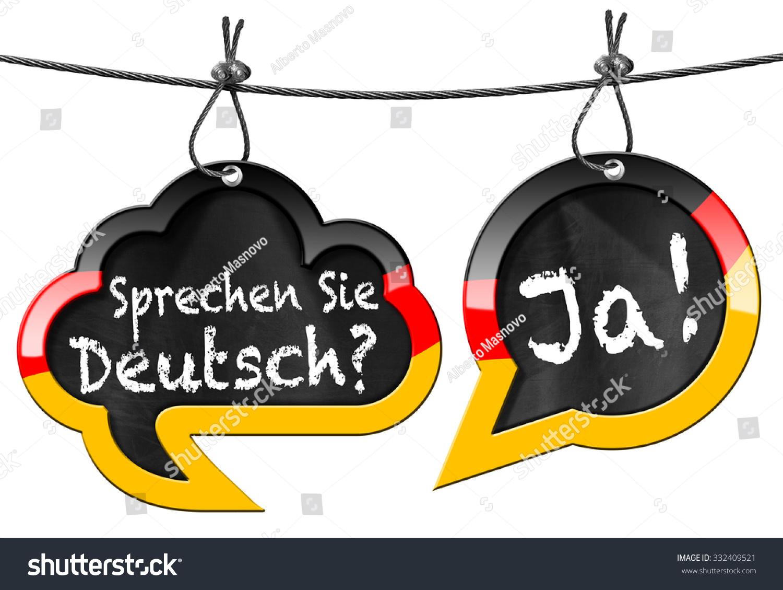 Pleasant Sprechen Sie Deutsch Speech Bubbles Two Stock Illustration Hairstyle Inspiration Daily Dogsangcom