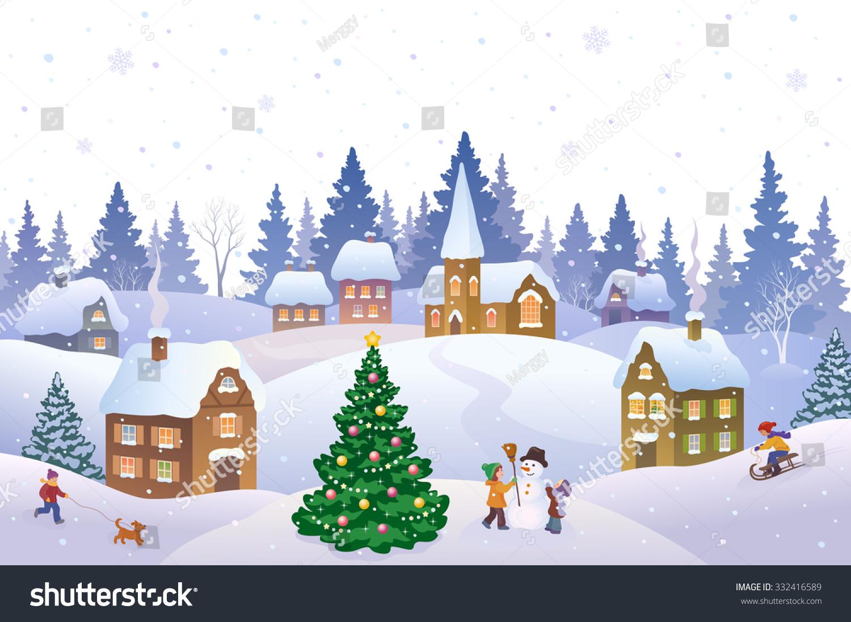 Town Landscape Vector Illustration: Vector Cartoon Illustration Christmas Scene Small Stock
