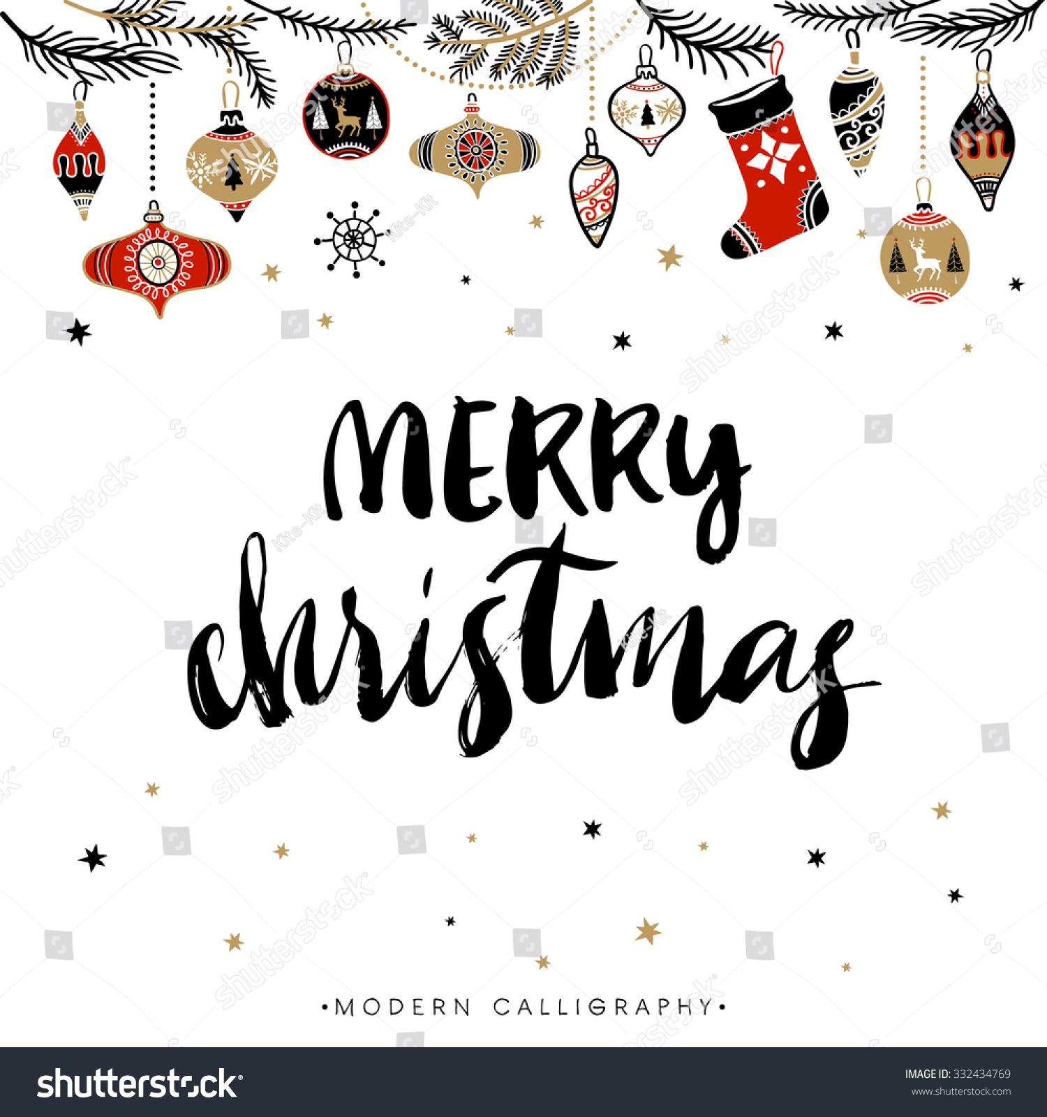 Merry Christmas Christmas Calligraphy Handwritten Modern Stock ...