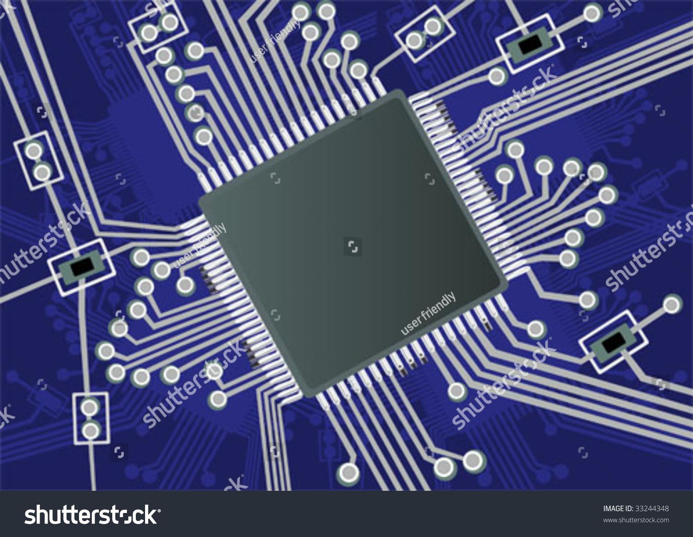 Fictive Printed Board Circuit Stock Vector Royalty Free 33244348 Image Of Sciencestockphotoscom