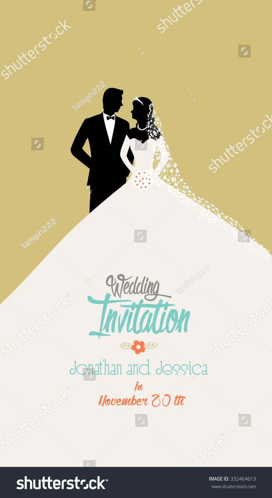 Wedding Invitation Bride Groom Flat Simple Stock Vector (Royalty ...