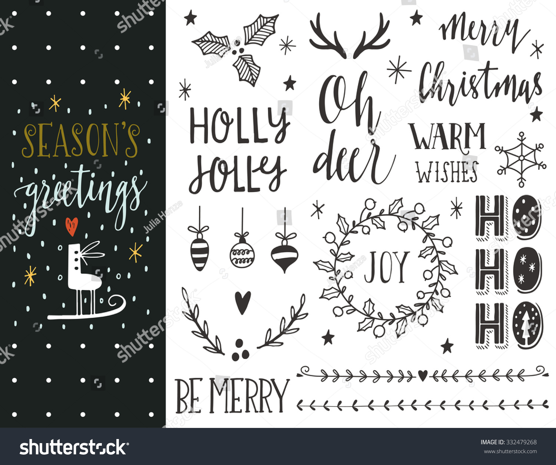 Seasons Greetings Hand Drawn Christmas Holiday Vector – Holiday or Seasons Greetings Invitation Cards