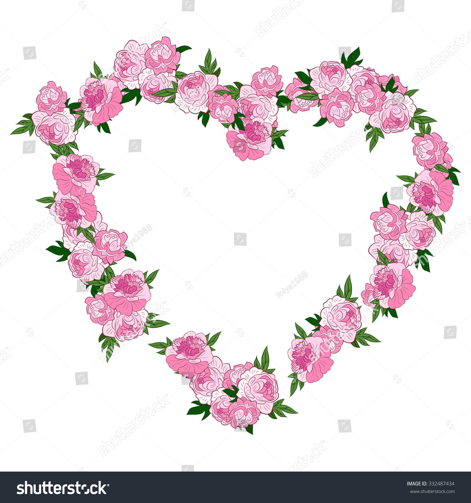 Royalty free pink floral heart shape wreath made 332487434 stock pink floral heart shape wreath made with peonies frame or border of flowers isolated on mightylinksfo