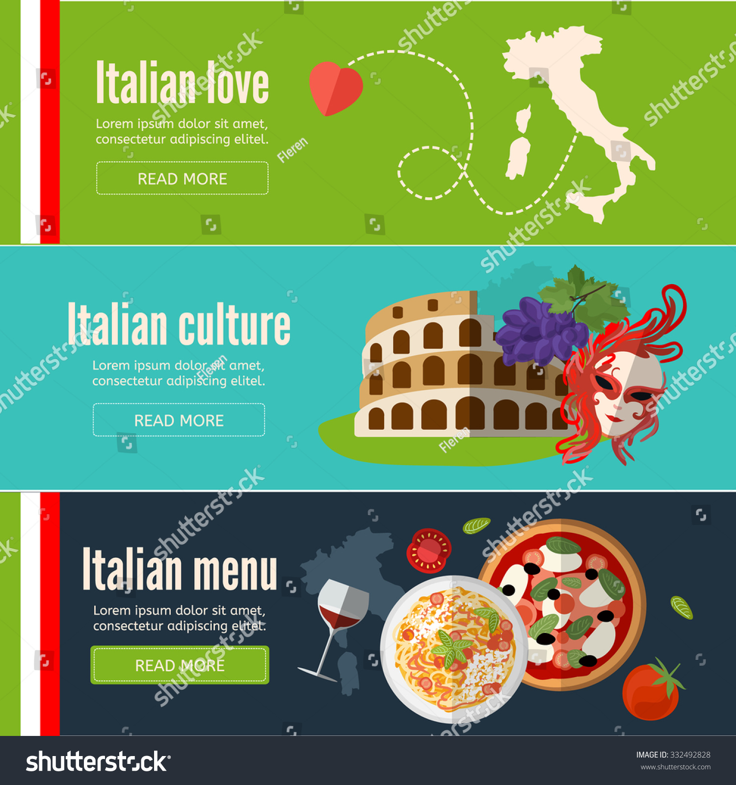 Italian Restaurant Near Me: Collection Of Web Banners With With Italian Food, Symbols