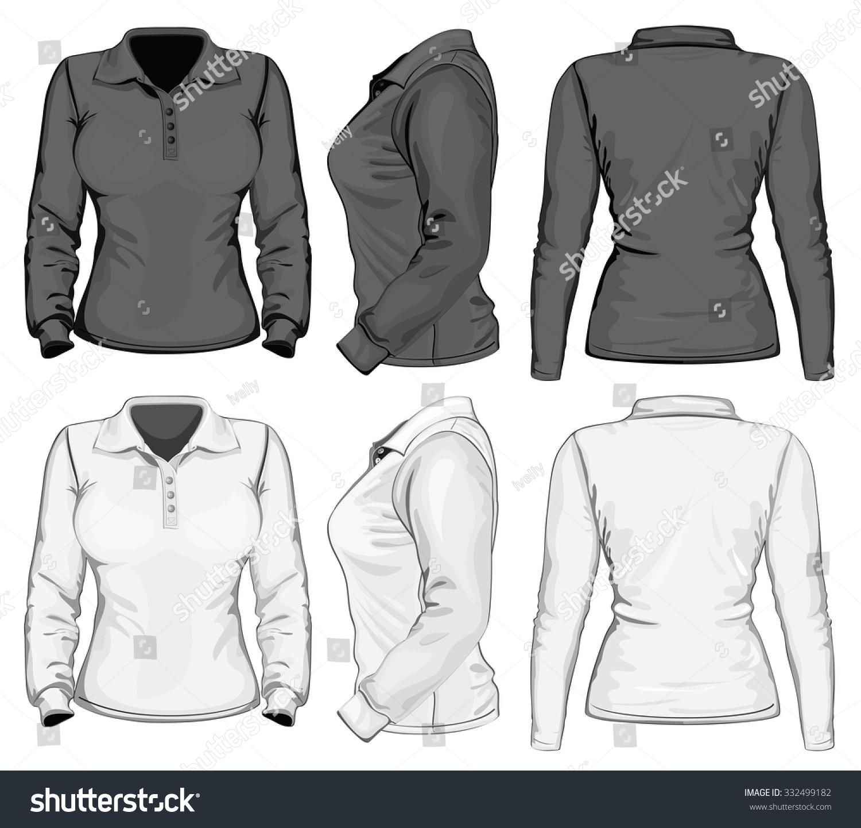 Womens Long Sleeve Poloshirt Design Template Stock Vector Royalty
