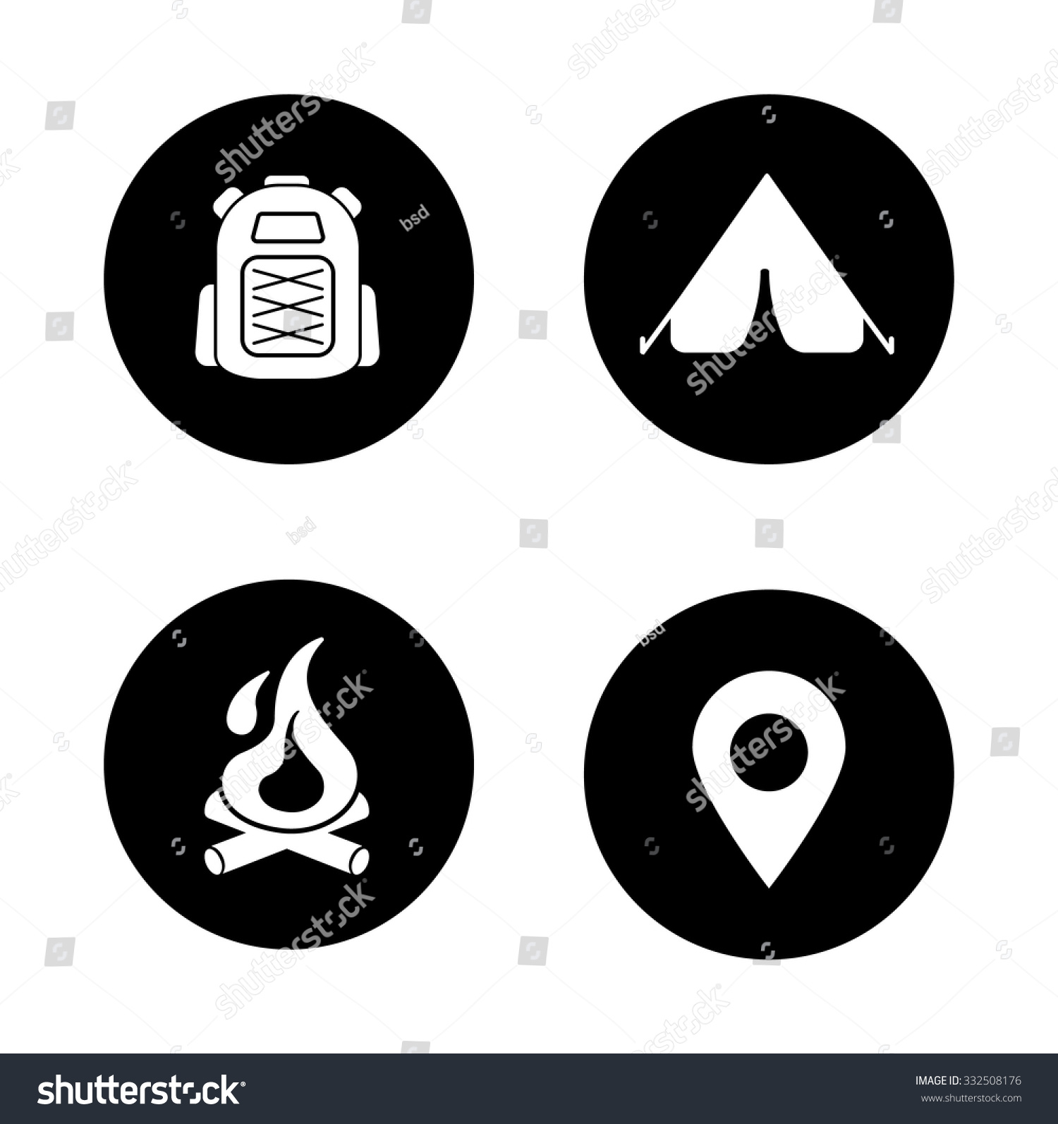 Camping Black Icons Set Travel Mountaineering Stock Vector ...