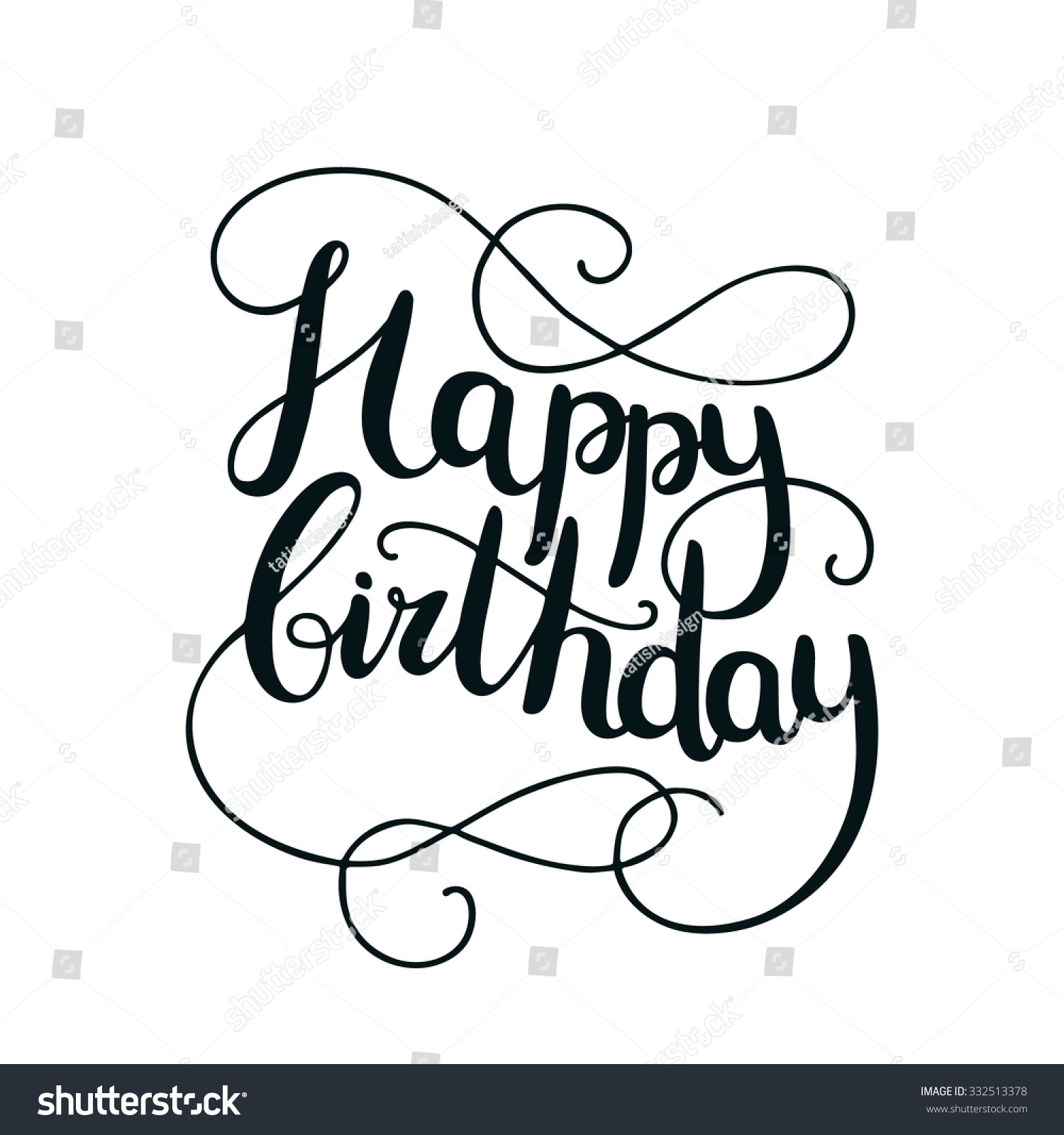 Happy birthday card with hand drawn lettering on white