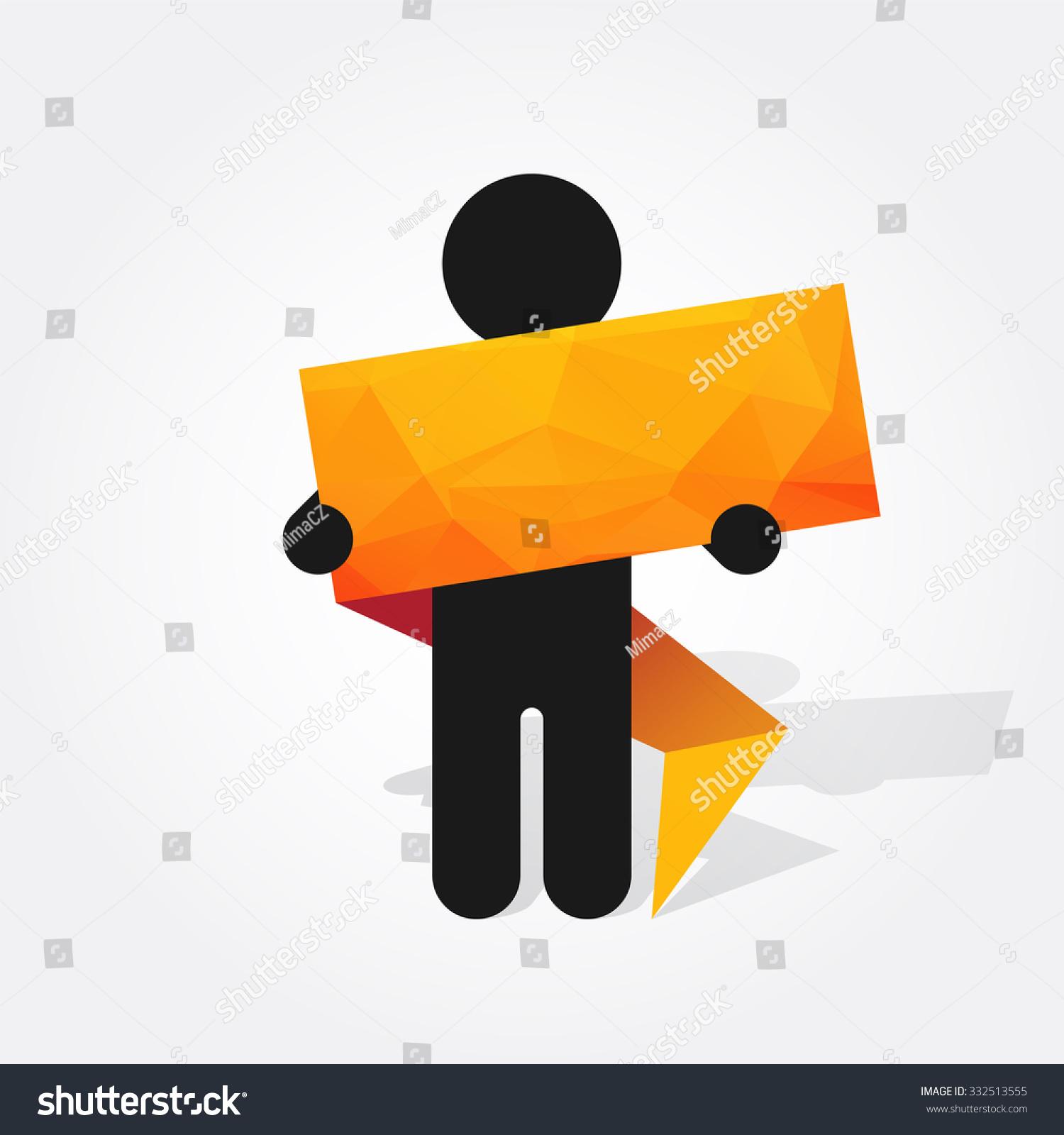 Figure man holds orange origami sign stock vector 332513555 figure man holds orange origami sign jeuxipadfo Gallery