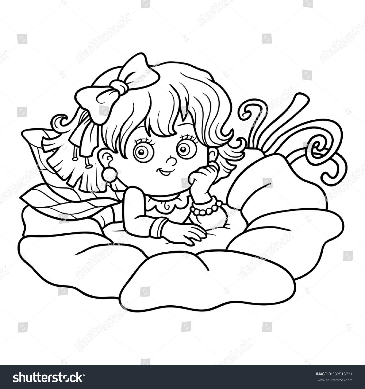 coloring book children little fairy stock vector 332518721