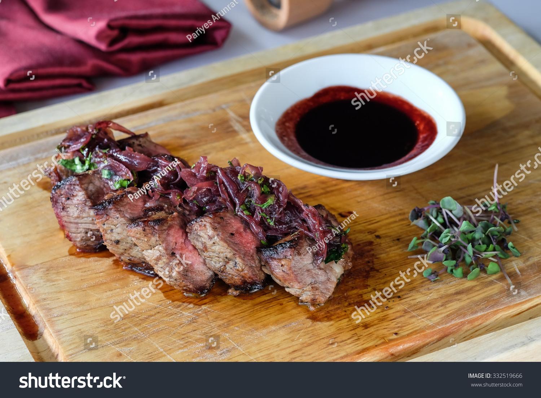 Wagyu Rib Eye Steak Caramelized Onions Stock Photo ...