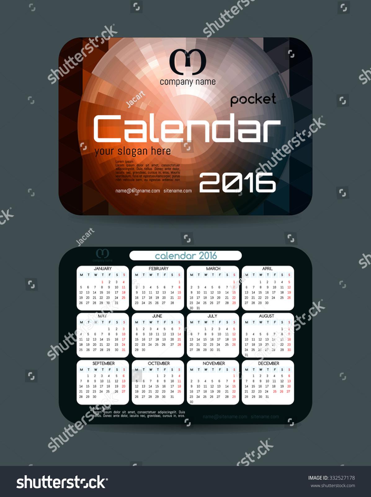 Design Pocket Calendar 2016. Vector Templates All Months. Example ...
