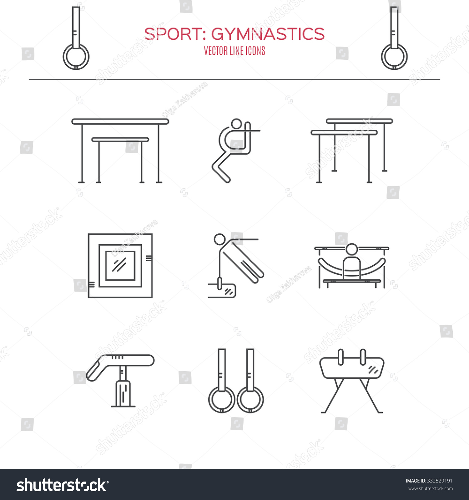 Modern Unique Artistic Gymnastics Icons Symbols Stock