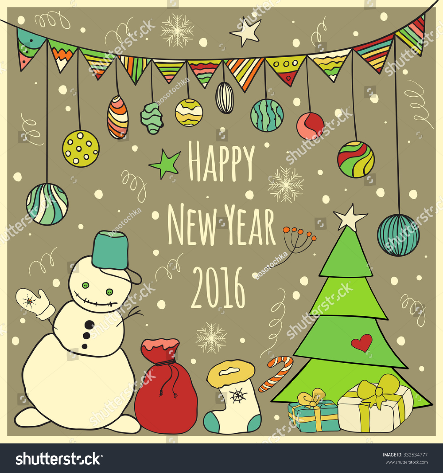 Happy New Year 2016 Greeting Card Stock Vector Royalty Free