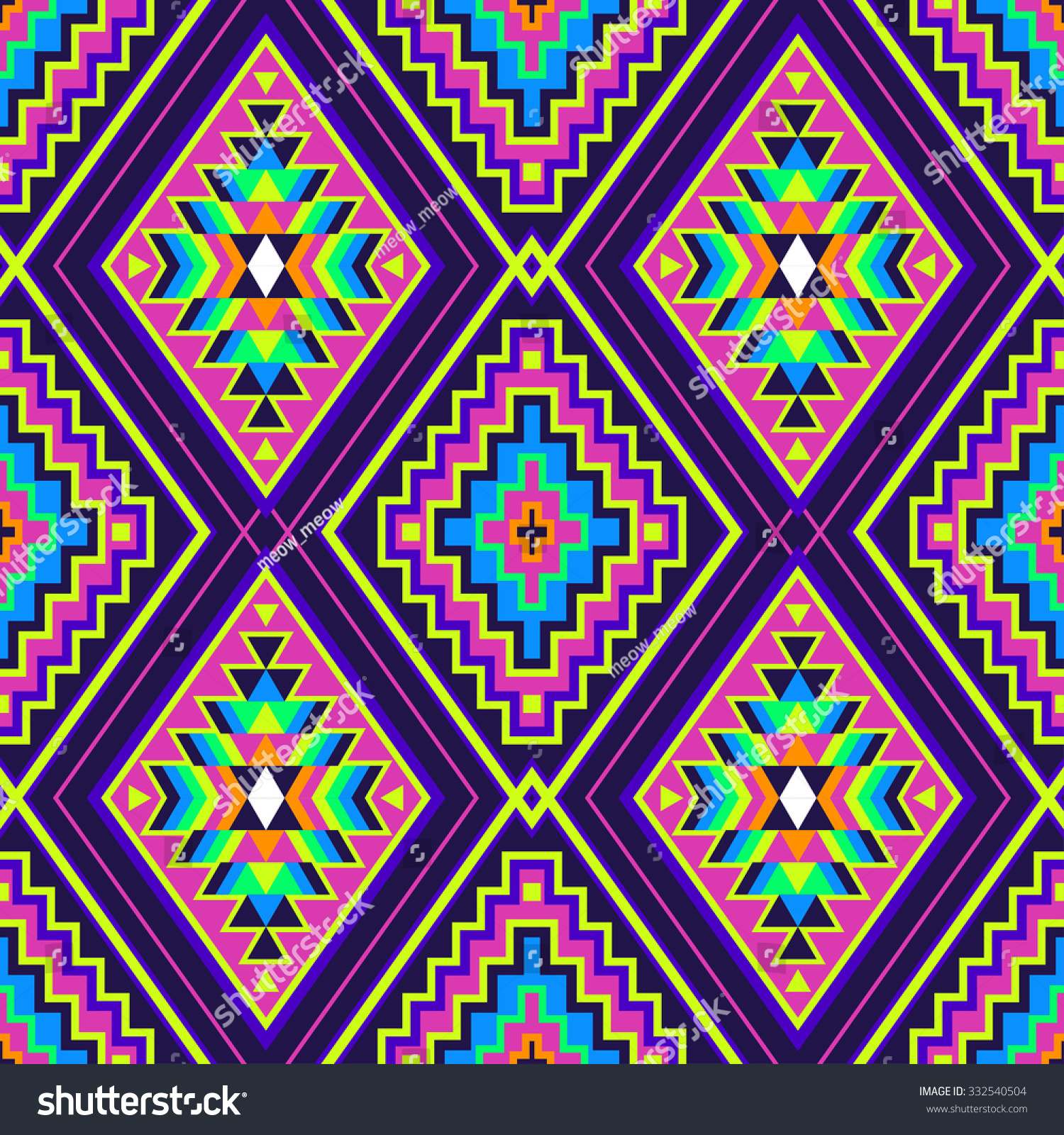 Neon Color Tribal Indian Seamless Pattern Abstract Geometric Print Ethnic Hipster Backdrop It