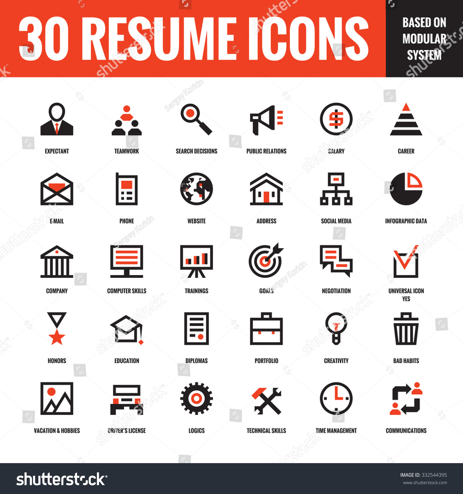 30 resume creative vector icons based on modular system
